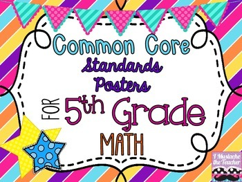5th Grade Math Common Core *Standards Posters* Diagonal Stripes