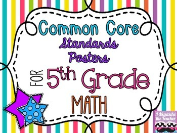 5th Grade Math Common Core *Standards Posters* Vertical Stripes