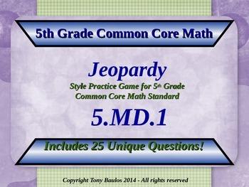 5th Grade Math Jeopardy Game - 5 MD.1 Convert Measurement