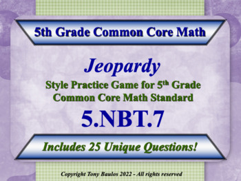 5th Grade Math Jeopardy Game - Add, Subtract, Multiply Div