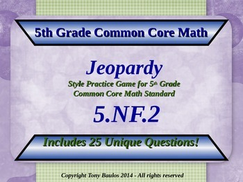 5th Grade Math Jeopardy Game: Addition Subtraction Fractio