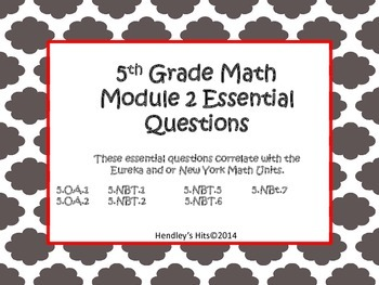 5th Grade Math Module 2 Essential Questions- Eureka / New