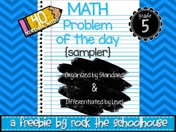 SAMPLE Math Task Cards - Problem of the Day ( 5th grade wo