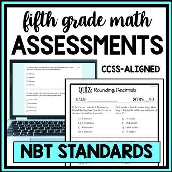 5th Grade Math: NBT Quiz Bundle, Covers All NBT Standards,