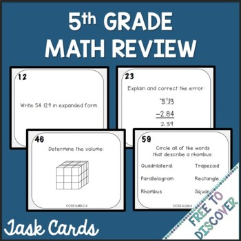 5th Grade Math Review Task Cards