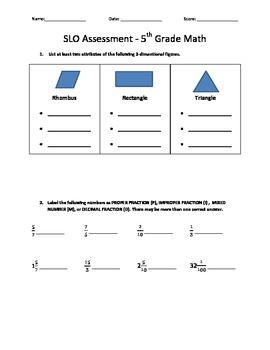 5th Grade Math -SLO