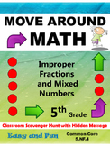 5th Grade Math Scavenger Hunt: Improper Fractions and Mixe