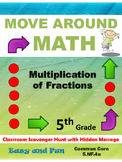 5th Grade Math Scavenger Hunt: Multiplying Fractions: Comm