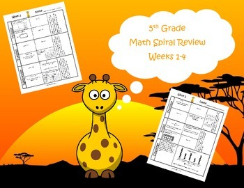 5th Grade Math Spiral Review (TEKS Aligned) Weeks 1-4