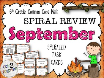 5th Grade Math - Spiraled Common Core Review Task Cards (S