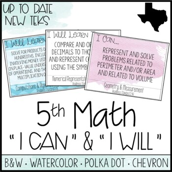 "5th Grade Math TEKS  - ""I Can"" Statements / ""I Will Learn"