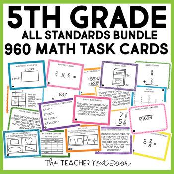 5th Grade Math Task Cards Mega Bundle