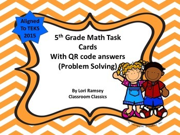 5th Grade Math Task Cards - With QR Code Answers - Problem
