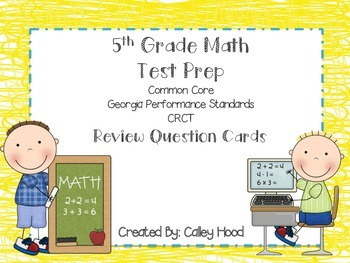 5th Grade Math Test Prep Review Question Cards CRCT, CC, G