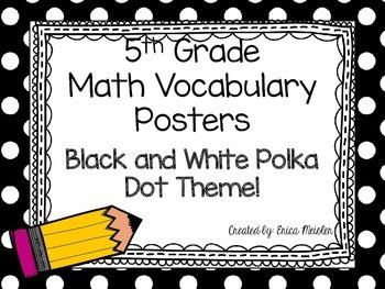 5th Grade Math Vocabulary Common Core Black and White Polka Dots