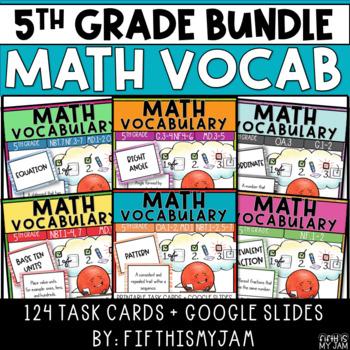 5th Grade Math Vocabulary Memory Cards Units 1 - 6 Bundle