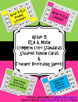 5th Grade Math and ELA Common Core Punch Cards and Recordi