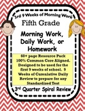 5th Grade Morning Work Spiral Review 3rd Quarter Common Core