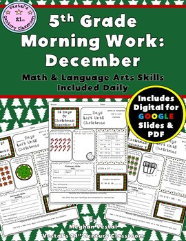 5th Grade Morning Work for December- Math & LA Included