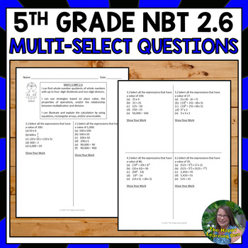 FSA Practice: Multi-Select Questions- Find Quotients of Wh