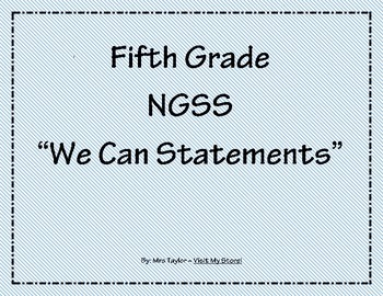 "5th Grade NGSS ""We Can Statements"""