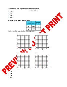 5th Grade Operations & Algebraic Thinking Assessment