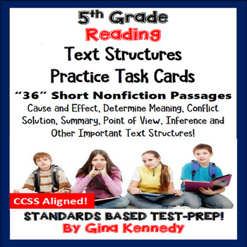 5th Grade Reading Skills Task Cards, 30 Short Passages in All!