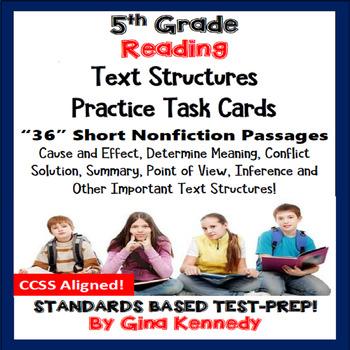 5th Grade Reading Skills Task Cards, 30 Short Passages in All!