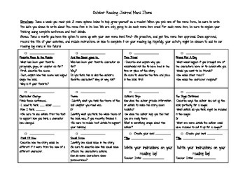 5th Grade Reading Response Menu