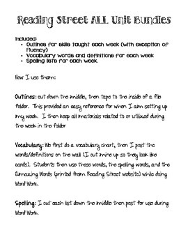 5th Grade Reading Street ALL UNITS- Outline, Spelling, Vocab