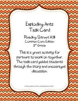 5th Grade Reading Street Task Card- Exploding Ants (Common