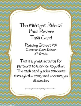 5th Grade Reading Street Task Card-Midnight Ride of Paul R
