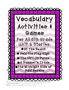 Reading Street 5th Grade Unit 2 Complete Set of Vocabulary
