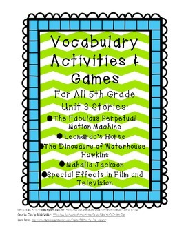Reading Street 5th Grade Unit 3 Complete Set of Vocabulary
