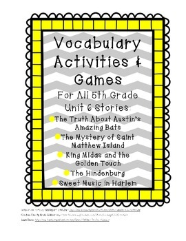 Reading Street 5th Grade Unit 6 Complete Set of Vocabulary