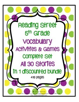 Reading Street 5th Grade Vocabulary Activities and Games f