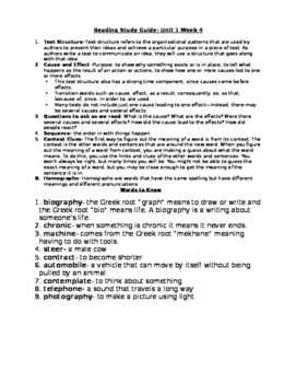 5th Grade Reading Study Guide Unit 1 Week 4