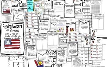 5th Grade Reading Wonders-  Unit 2 - Bundle