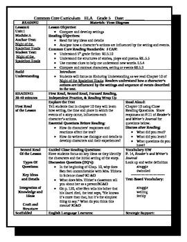 5th Grade ReadyGen ELA Lesson Plan Unit 1 Module A Lesson 6