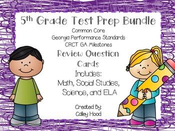 5th Grade Review Question Card Bundle CC, GPS, GA Mileston