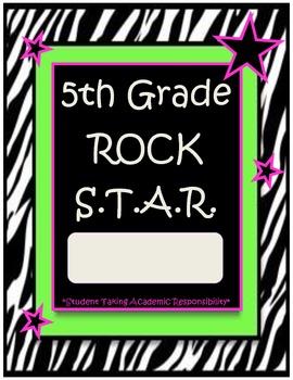 5th Grade Rock Star Binder-Folder Covers with Zebra Print