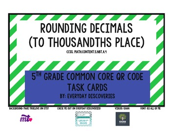 5th Grade Rounding Decimals QR Task Cards
