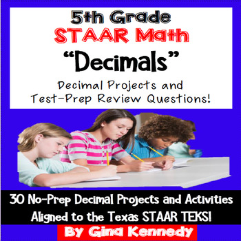 5th Grade STAAR Math Decimals, 30 Enrichment Projects and