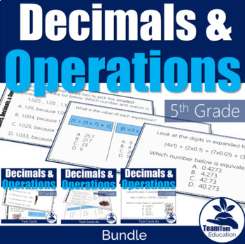 5th Grade STAAR Math Task Card Bundle - Numbers and Operations