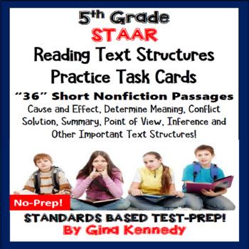 5th Grade STAAR Reading Skills Task Cards, 30 Short Passag