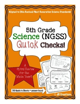 5th Grade Science Quick Check Spiral Review Set (NGSS/Ohio