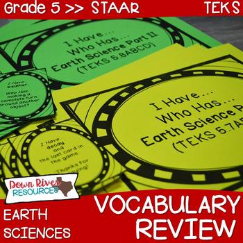 5th Grade Science TEKS STAAR Earth Science Vocabulary Revi