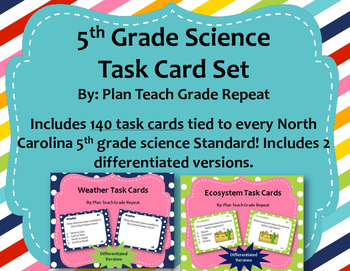 5th Grade Science Task Card Bundle (140 task cards)~2 Diff