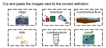 5th Grade Science Vocab Visual Supports and Matching Activity
