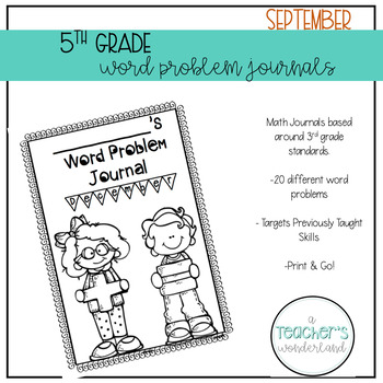 5th Grade September Word Problem Journals